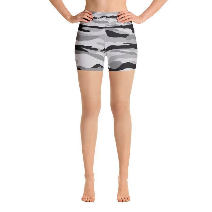 Classic Black and Grey Camo Yoga Shorts