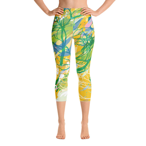 Cute Yellow Splash Yoga Capri Leggings