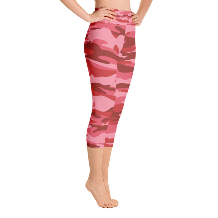 Red Camo Print Yoga Capri Leggings