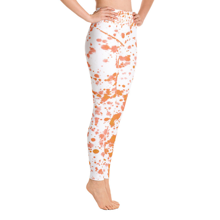 Orange Spatter Yoga Leggings