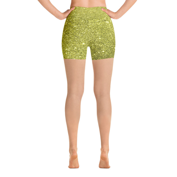 Gold Glitter Yoga Shorts
