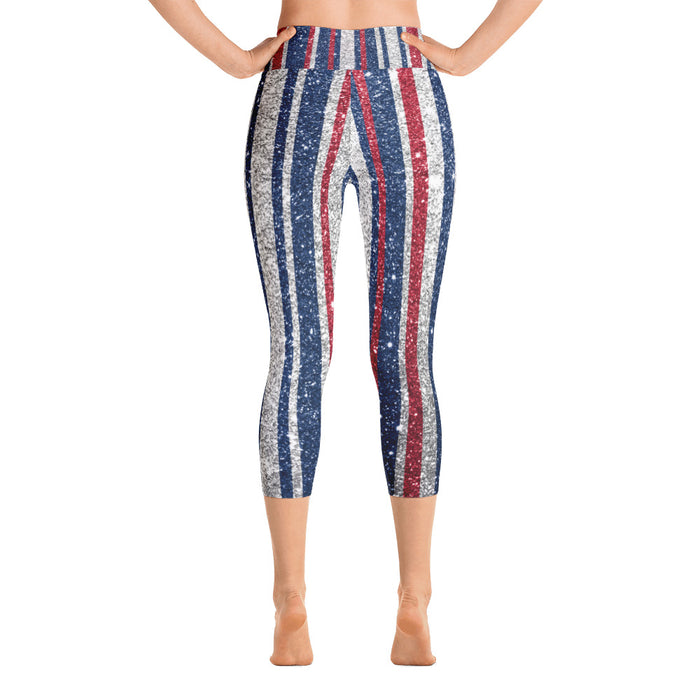 Cute Glitter Print July 4th Yoga Capri Leggings