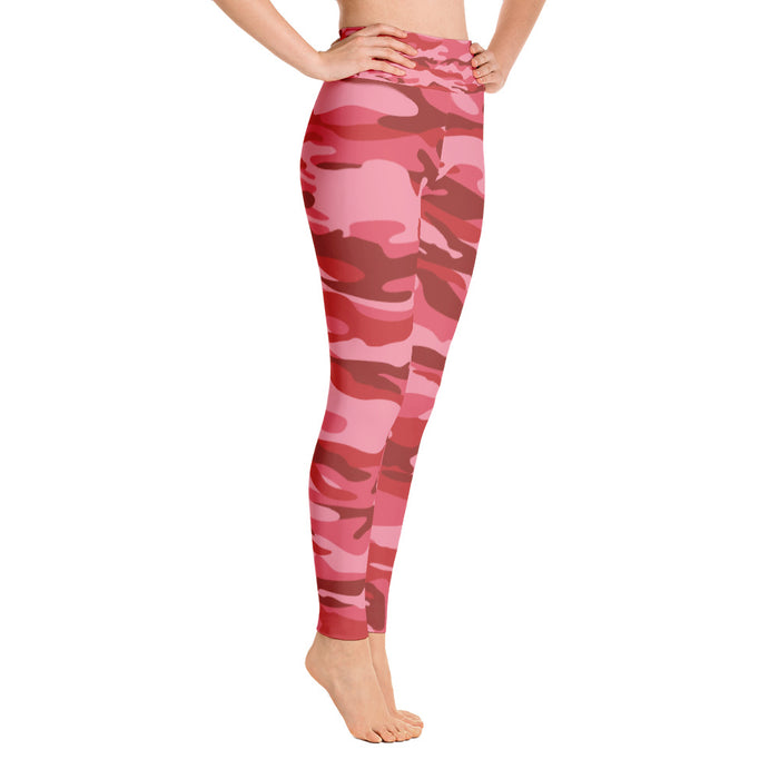 Cute Red Pink Camo Yoga Leggings