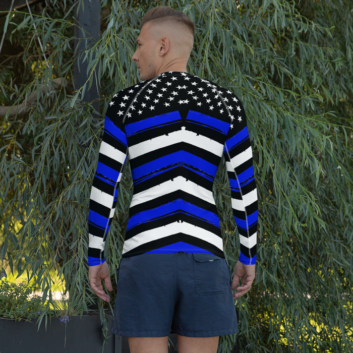 Cool Thin Blue Line Rash Guard - Police Theme Rash Guard for Men