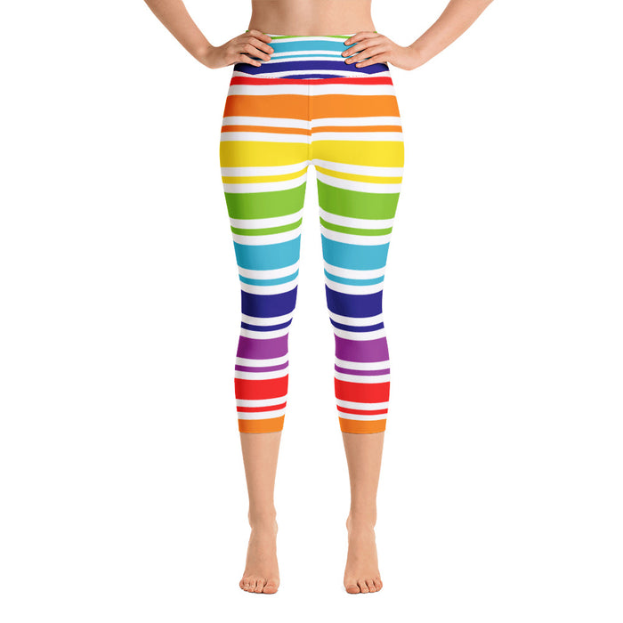 Rainbow Stripe Yoga Capri Leggings