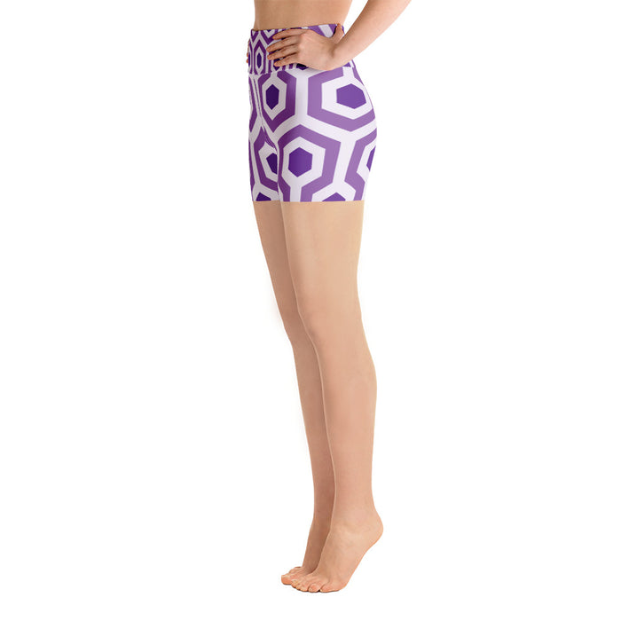 Purple Pentogram Yoga Shorts