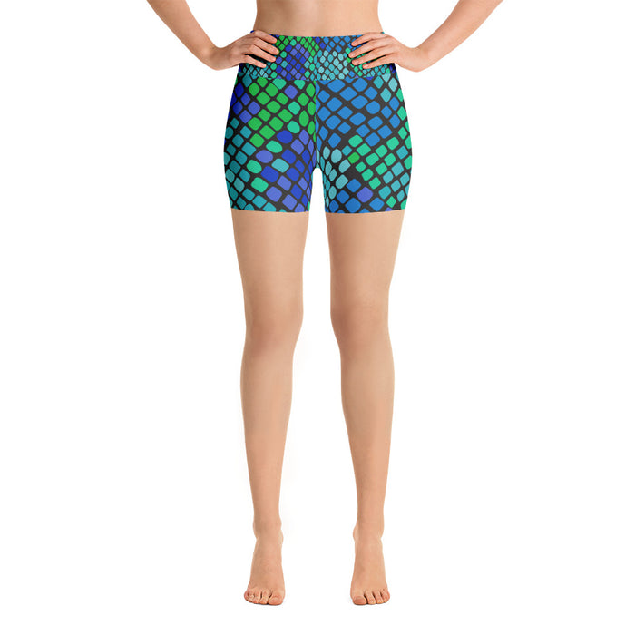 Cute Blue Green Snake Print Yoga Shorts