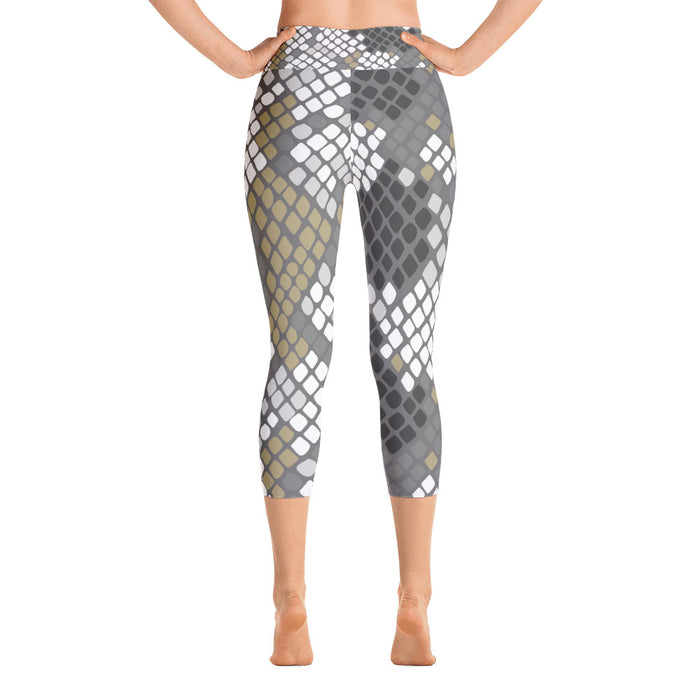 White Gold Snake Print Yoga Capri Leggings