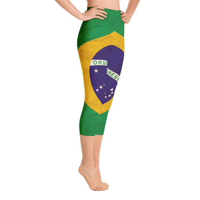 Brazilian Flag Yoga Capri Leggings