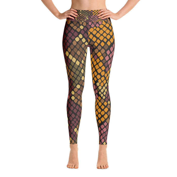 Orange and Black Snake Pattern Yoga Leggings