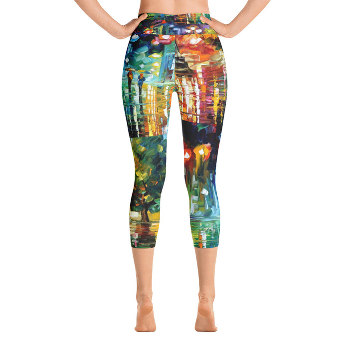 Oil Paint Art Yoga Capri Leggings