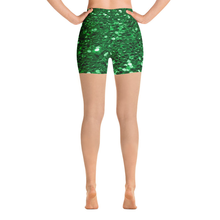 Green Glitter Yoga Shorts