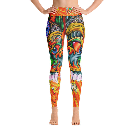 Cool Japanese Fire Dragon Art Yoga Leggings
