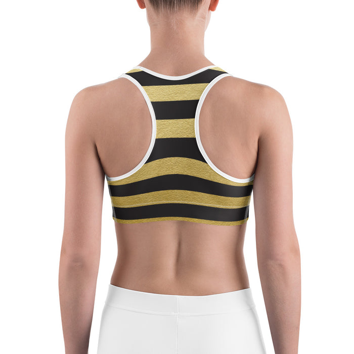Black and Gold Stripe Yoga Sports Bra