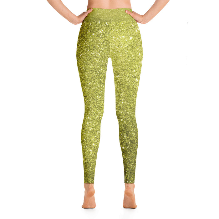 Gold Glitter Pattern Yoga Leggings