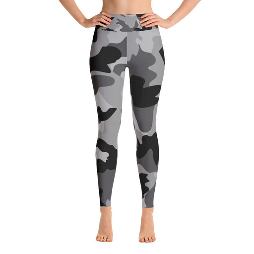 Cute Black Grey Camo Yoga Leggings