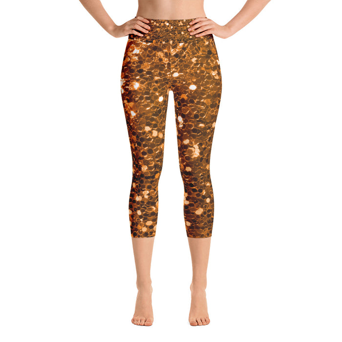 Orange Glitter Print Yoga Capri Leggings