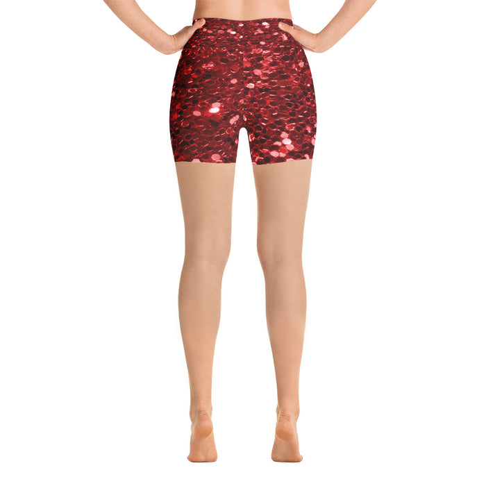 Cute Red Glitter Yoga Shorts