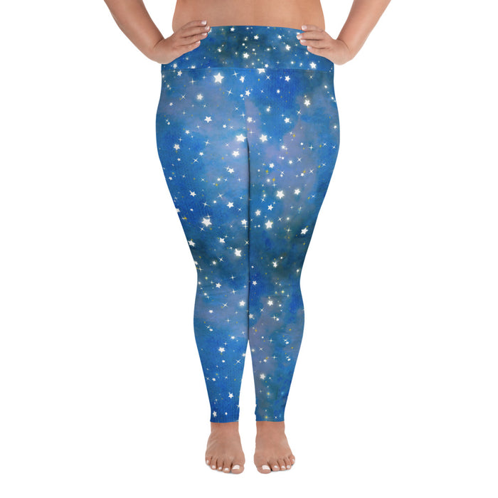 Cute Night Sky Plus Size Yoga Leggings (up to 6XL ) - Cool XL Leggings - Women's Plus Sized Yoga Leggings – Plus Size Workout Pants – Plus Sized Gym Leggings