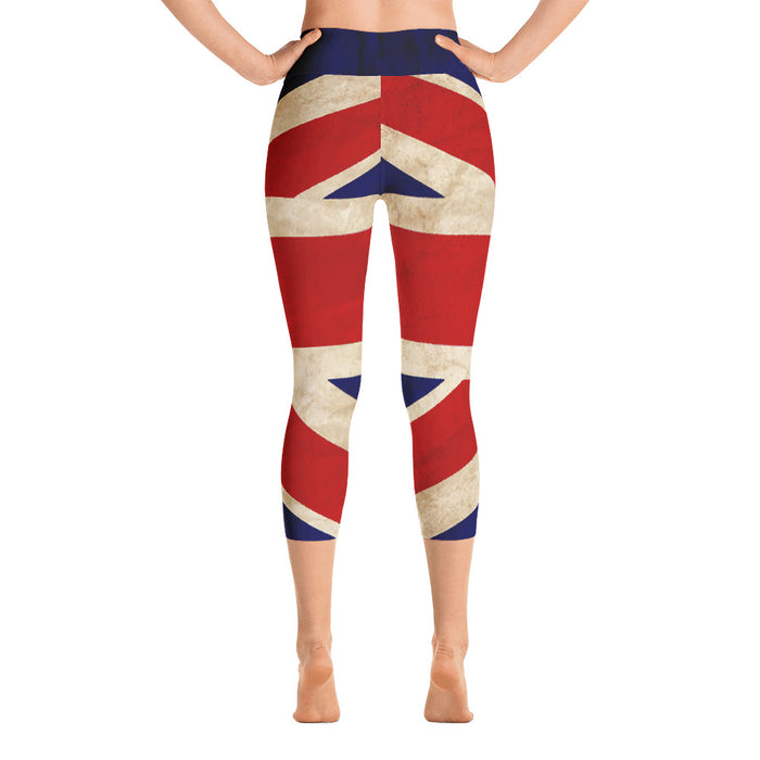 Cute UK Flag Yoga Capri Leggings
