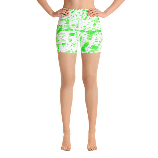 Green Spatter Yoga Shorts