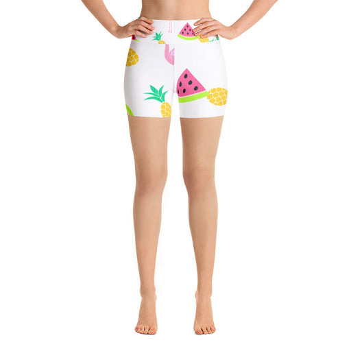 Pineapple and Famingos Yoga Shorts