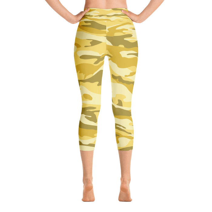Yellow Camo Yoga Capri Leggings