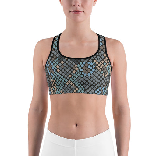 Cute Snake Pattern Black and Blue Sports Bra