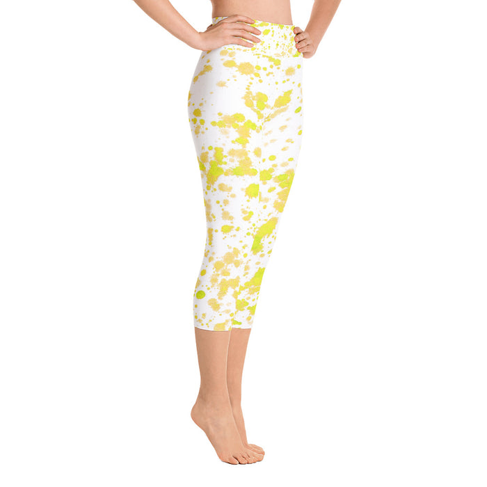 Yellow Spatter Yoga Capri Leggings