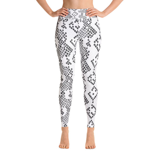Black White & Grey Snake Pattern Yoga Leggings