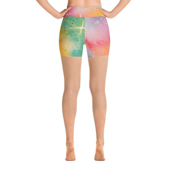 Sun Kiss Watercolor Yoga Shorts