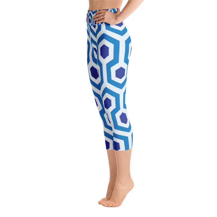 Blue Pentogram Yoga Capri Leggings