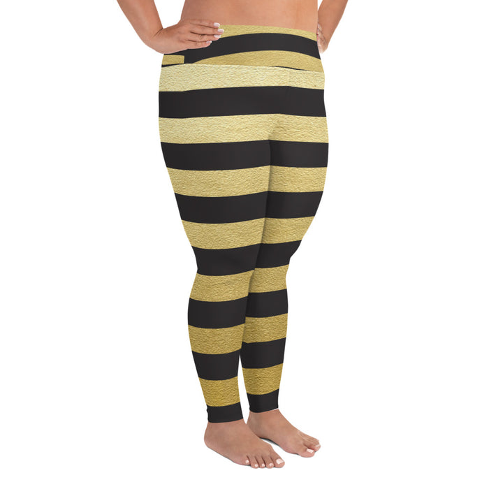 Black and Gold Stripe Plus Size Yoga Leggings (up to 6XL ) - Cool XL Leggings - Women's Plus Sized Yoga Leggings – Plus Size Workout Pants – Plus Sized Gym Leggings