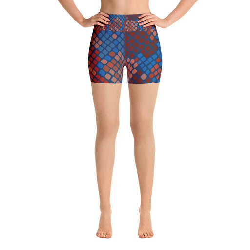 Cute Blue Red Snake Pattern Yoga Shorts