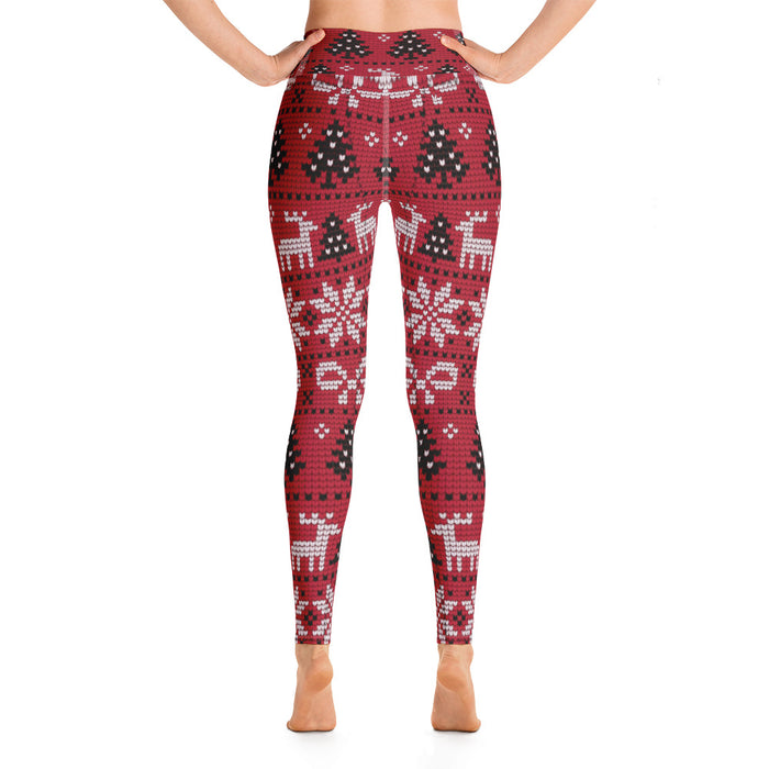 Cute Red Xmas Leggings - Ugly Sweater Yoga Leggings