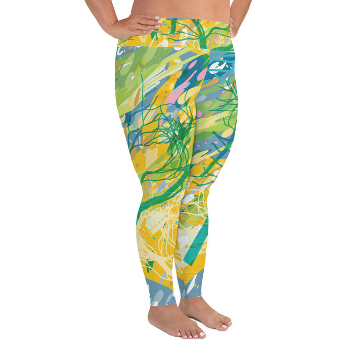 Yellow Color Splash Plus Size Yoga Leggings (up to 6XL ) - Cool XL Leggings- Women's Plus Sized Yoga Leggings –Plus Size Workout Pants –Plus Sized  Gym Leggings