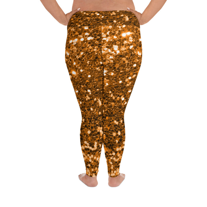 Orange Glitter Pattern 2 Plus Size Yoga Leggings (up to 6XL ) - Cool XL Leggings - Women's Plus Sized Yoga Leggings – Plus Size Workout Pants – Plus Sized Gym Leggings