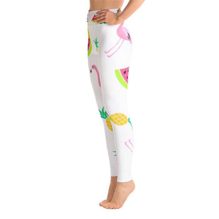 Cute Flamingo and Pineapple Yoga Leggings