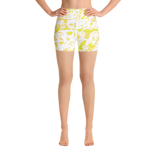 Yellow Spatter Yoga Shorts