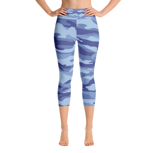 Classic Blue Black Camo Yoga Capri Leggings