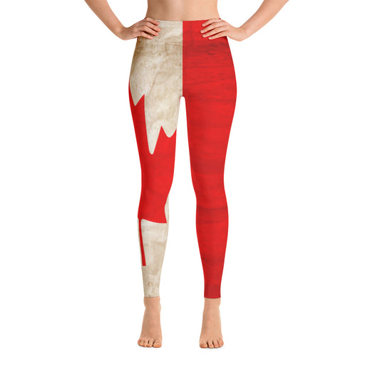Cute Canadian Flag Yoga Leggings