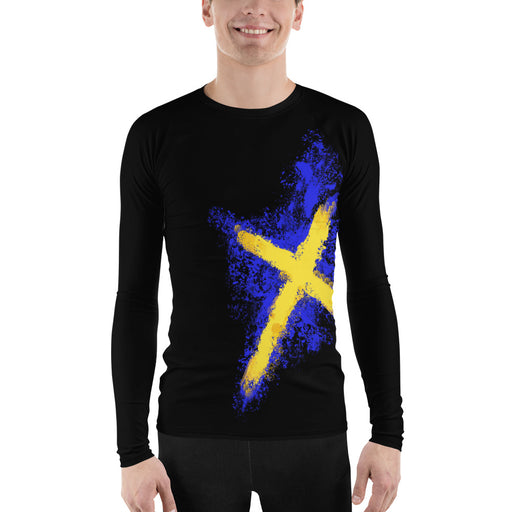 Swedish Flag Rash Guard - Men's Rash Guard Sweden Flag Rash Guards for BJJ, MMA, Judo and More