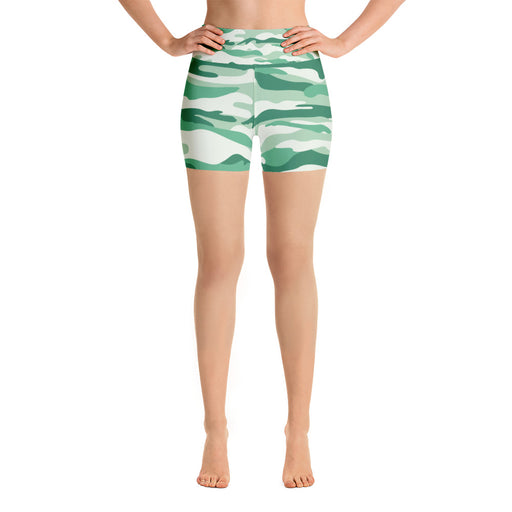 Cute Green Camo Yoga Shorts
