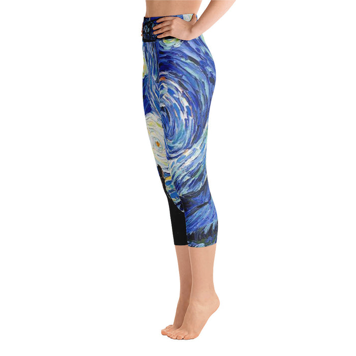 Starry Night Yoga Capri Leggings Classic Art