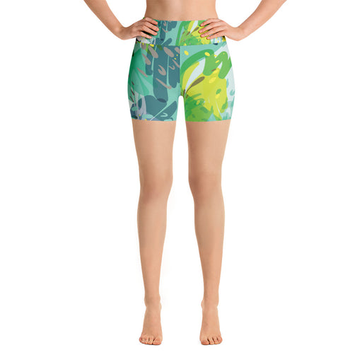 Cute Green Color Splash Yoga Shorts