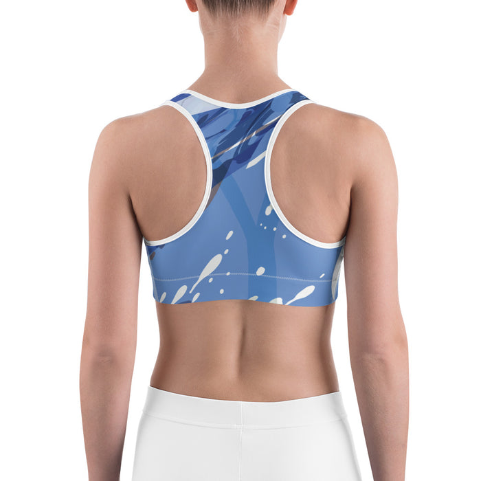 Blue Color Splash Yoga Sports Bra