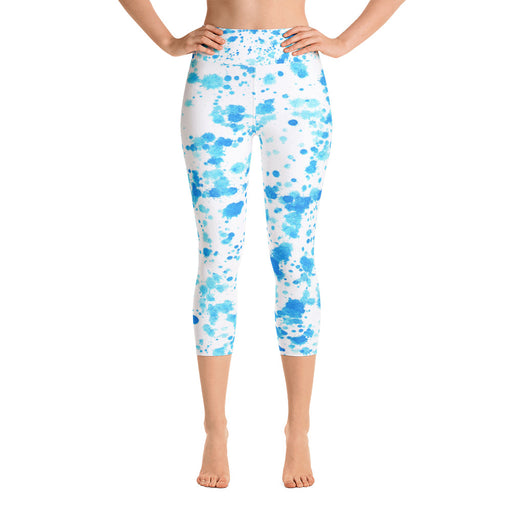 Light Blue Spatter Yoga Capri Leggings