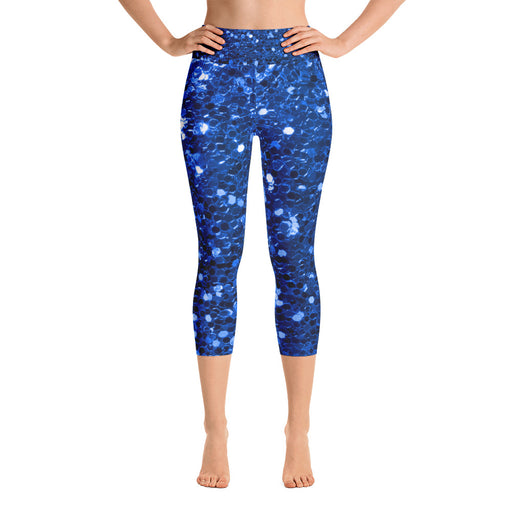 Blue Glitter Print Yoga Capri Leggings