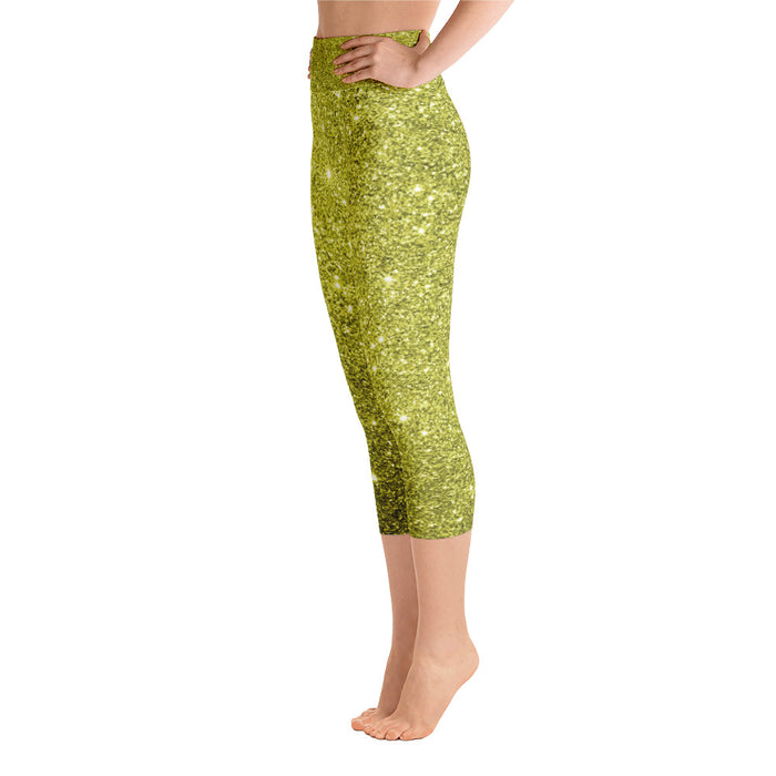 Gold Glitter Yoga Capri Leggings
