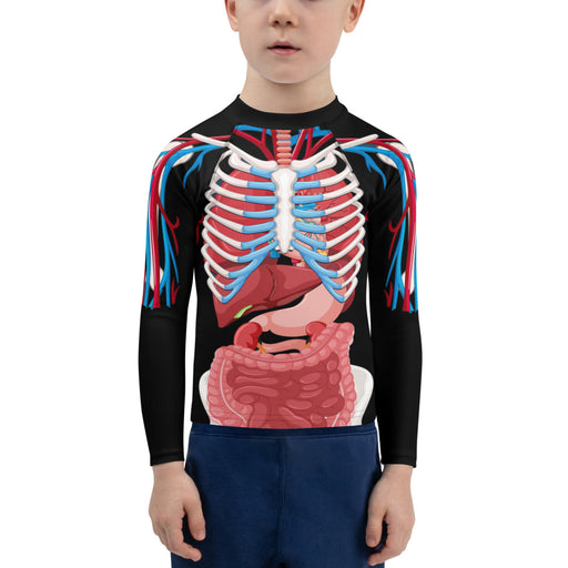Anatomy Skeleton Kids Rash Guard - kids jiu jitsu rash guard - jiu jitsu rash guard kids - kids rash guard boys bjj - kids bjj rash guard - kids rash guard bjj - Rashie
